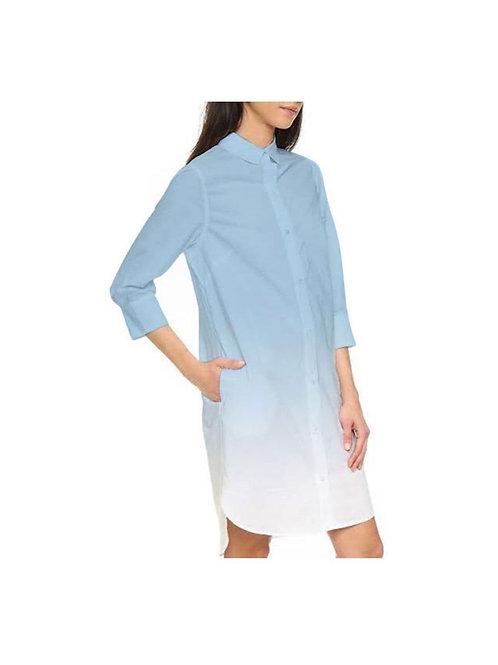 POWDER BLUE OMBRE SHIRT DRESS