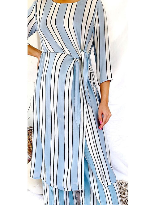 BLUE AND WHITE STRIPES  SIDE TIE TOP SET