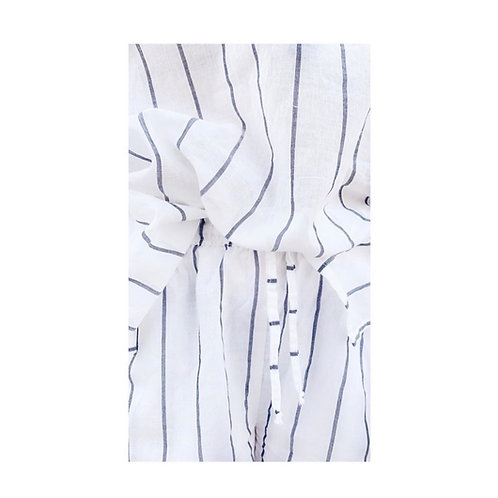 WHITE STRIPES SOFT YARN COTTON BATWING SET