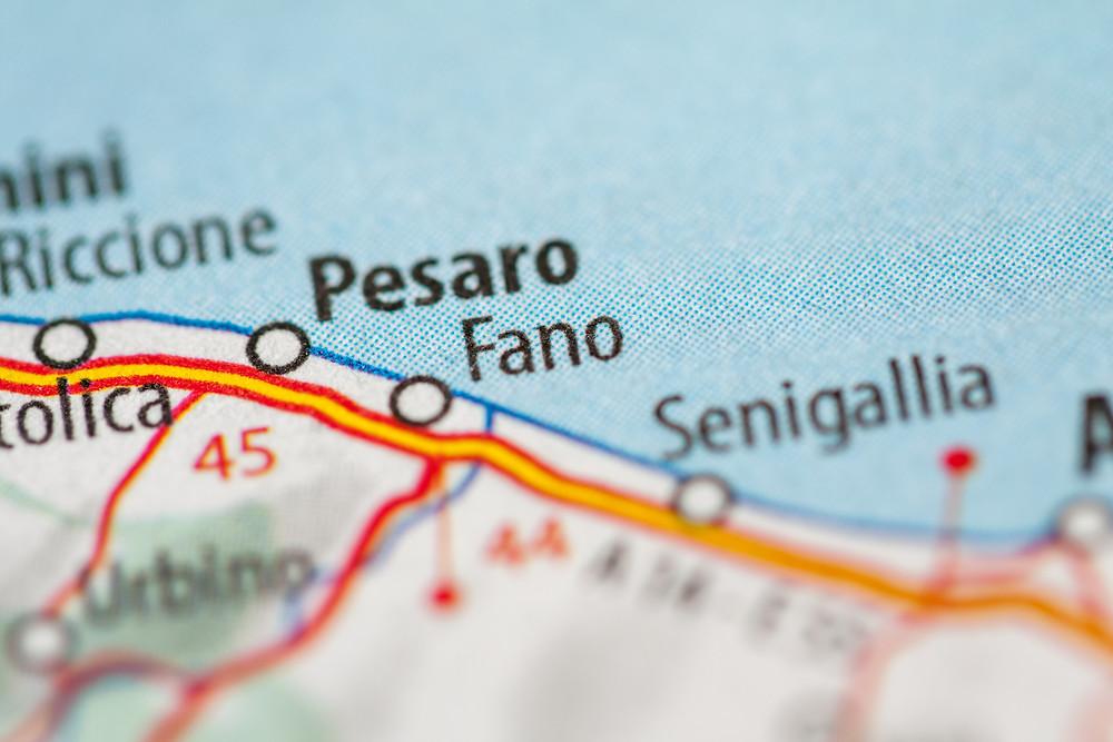 mapa okolicy Pesaro i Fano we Włoszech