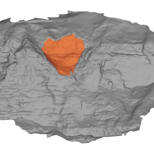 Modello 3D del fronte con evidenziazione nicchia di frana