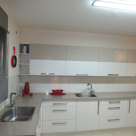 Modern White & Fieldstone Kitchen