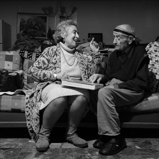 Arpi Mangassarian and her 100-year-old father Noubar playing