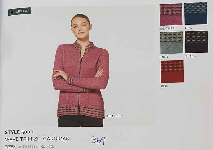 Style 5000 Wave Trim Zip Cardigan