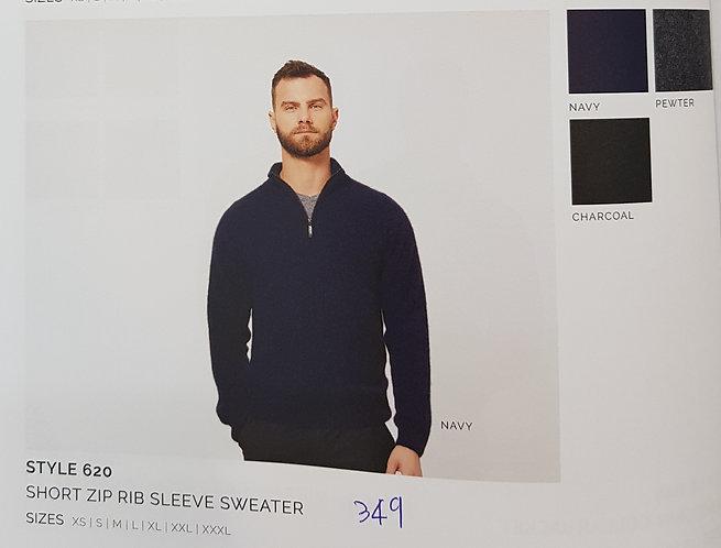 Style 620 Short Zip Rib Sleeve Sweater