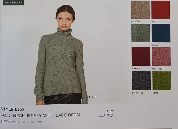 Style 6128 Polo Neck Jersey with Lace Detail