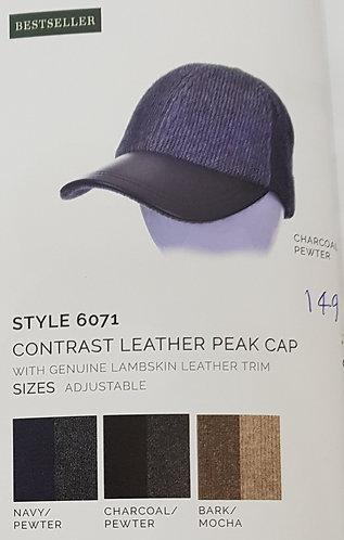 Style 6071 Contrast Leather Peak Cap