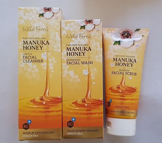 [Parrs] Wild Ferns Manuka Honey SET 와일드펀스 마누카허니 세트 페이셜클린저+페이셜워시+스크럽