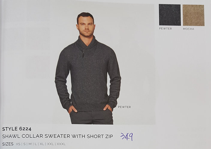 Style 6224 Shawl Collar Sweater With Short Zip