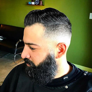 Mid Fade Comb Over with Natural Beard Trim