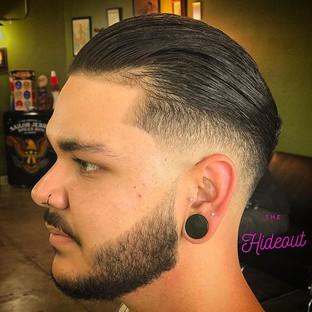 Low Drop Fade Slick Back with Tapered Beard Trim