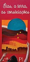"""Capa de livro """"Elas, a terra, as constelações"""". Vermelha, com uma mulher segurando um quadro."""