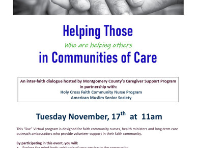 HELPING THOSE HELPING OTHERS IN COMMUNITIES OF CARE
