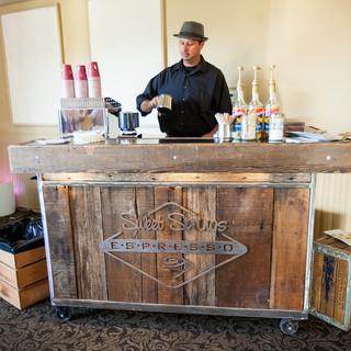 wood coffee cart