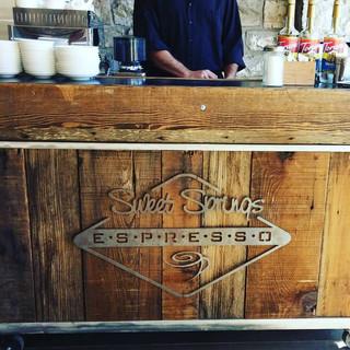 wood on coffee cart