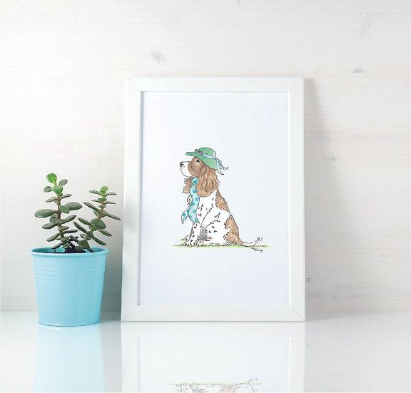 Summer Vibes, Summer Spaniel Print