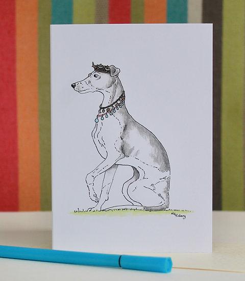 Princess Whippet greeting card