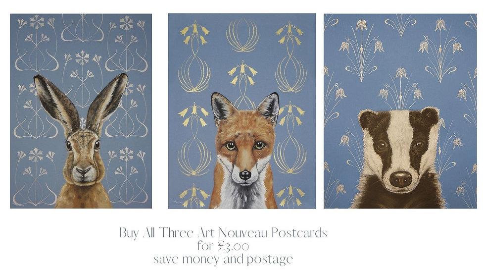Set of all three Art Nouveau Postcards