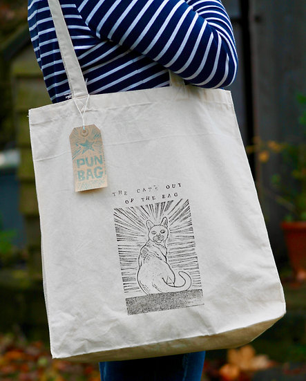 'The Cat's Out Of The Bag' Cotton Tote Bag