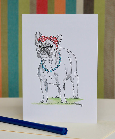 mademoiselle Frenchie greeting card