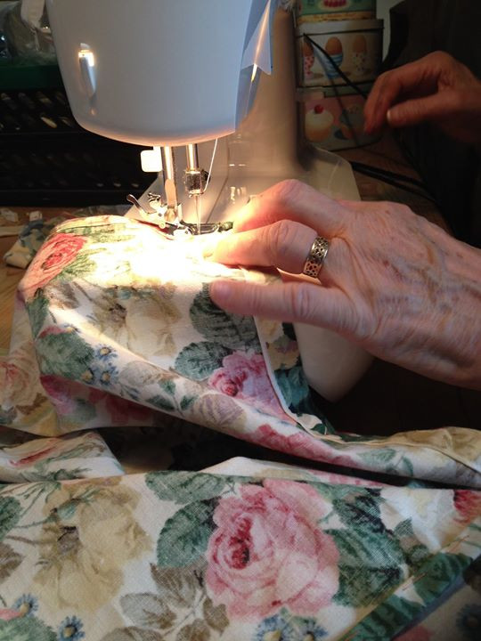 Facebook - My lovely Mum has been running up some new curtains for Gertie today.