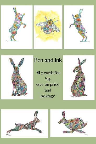 Pen and Ink Greeting Card Set