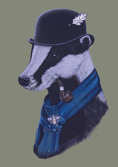 Badger in a Bowler Giclée Print