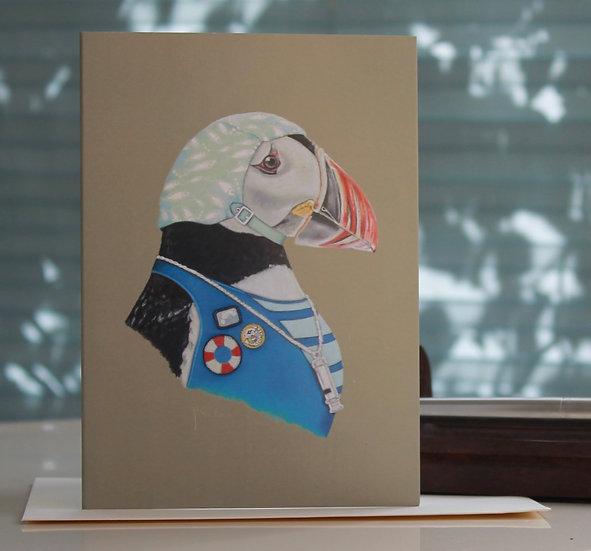 Prudence Puffin Greetings Card