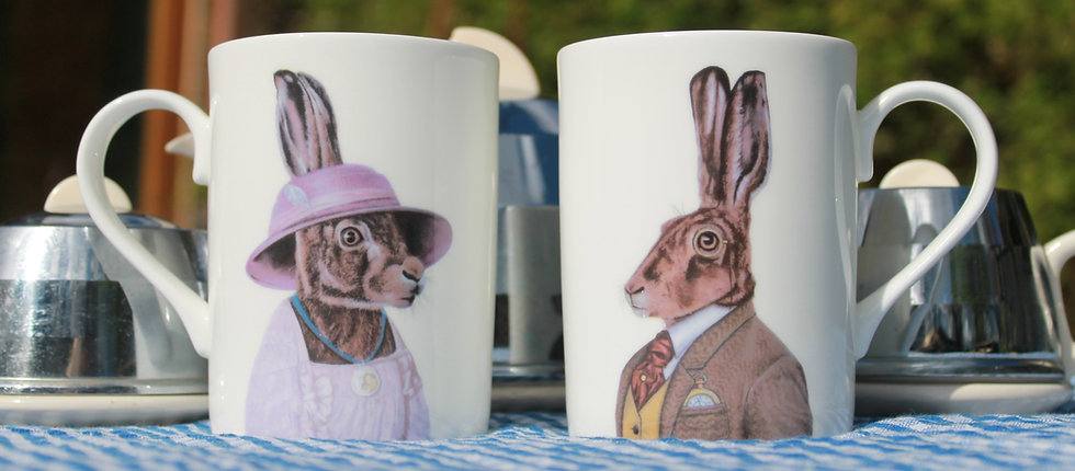 Pair of English Bone China Mugs