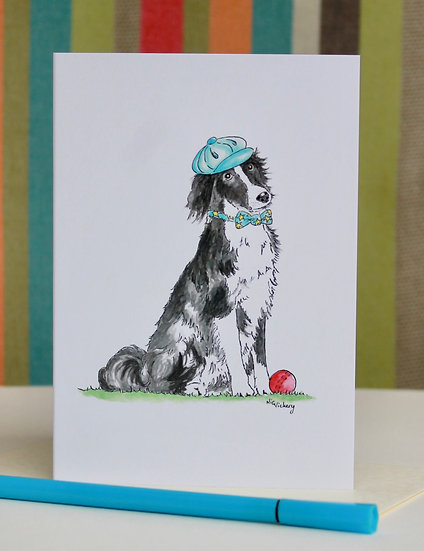Play! Border Collie greeting card