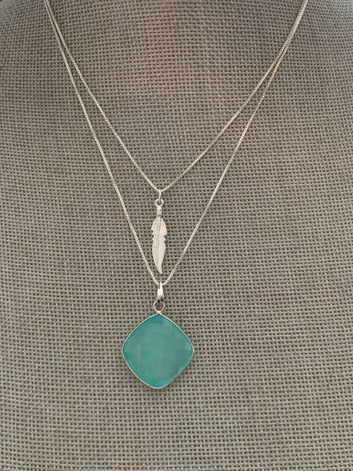 FEATHER AND SKY Layered Necklace