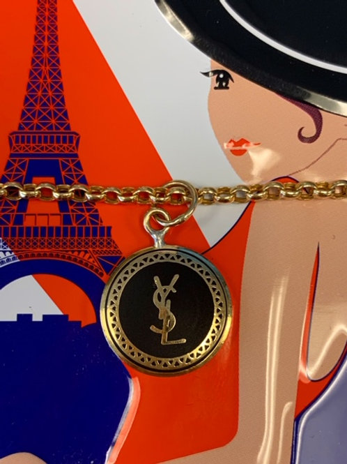 YSL Button Charm - Black and gold