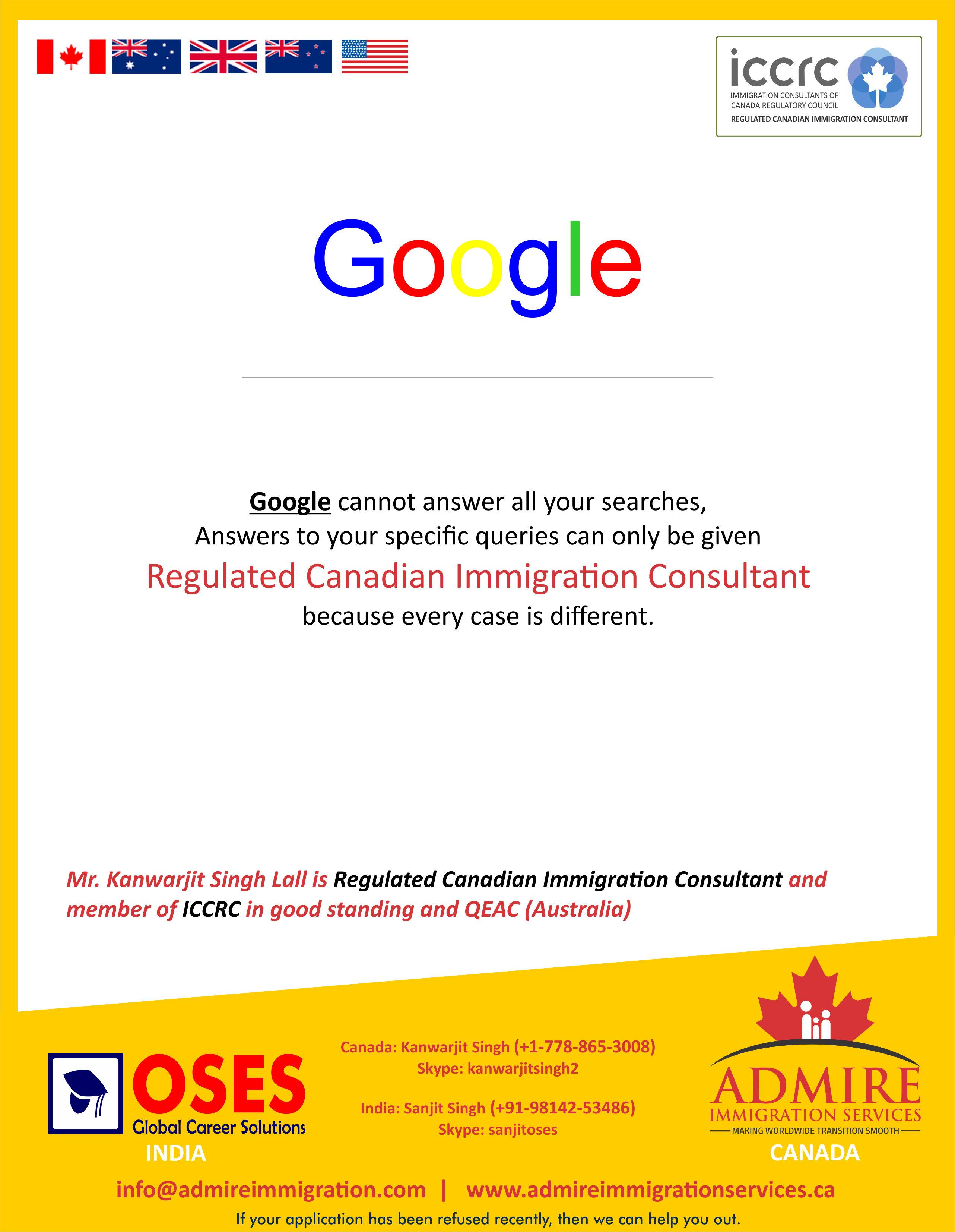Admire Immigration Canada Google