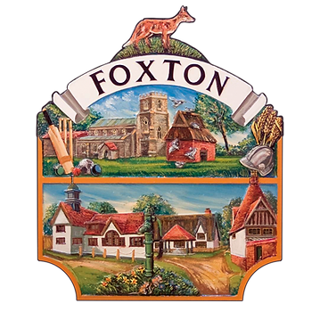 The Foxton village badge showing a fox on top of the church, Dovecote and the old houses of Foxton