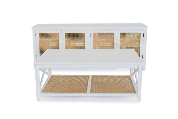 Rattan Coffee Table in White - 148551