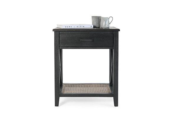 Rattan 1 Drawer Bedside Table in Black - 148550