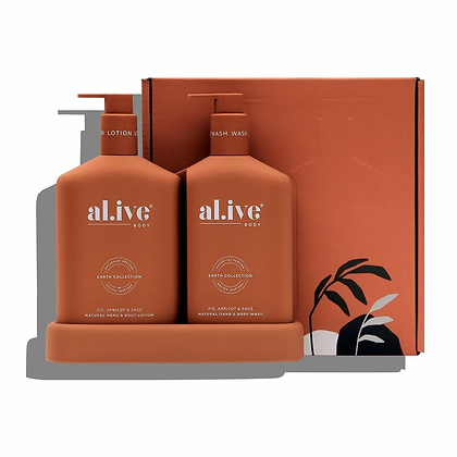 Wash and Lotion Duo + Tray in Fig, Apricot and Sage