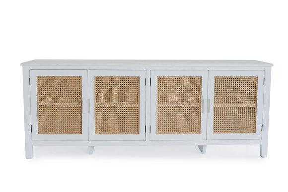 Rattan 4 Door TV Unit in White - 148556
