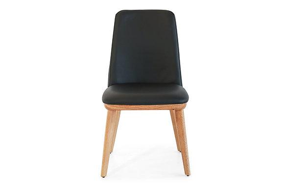 Black Leather Chair with Tassie Oak Legs - 144764