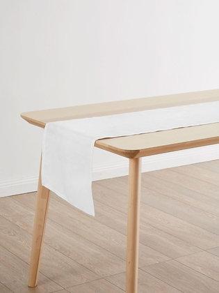 Nimes White Linen Table Runner