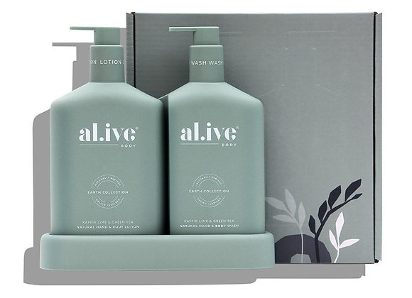 Wash and Lotion Duo + Tray in Kaffir Lime and Green Tea