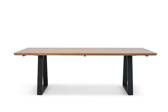 Dining Table in Tassie Oak with Black Legs - 146743