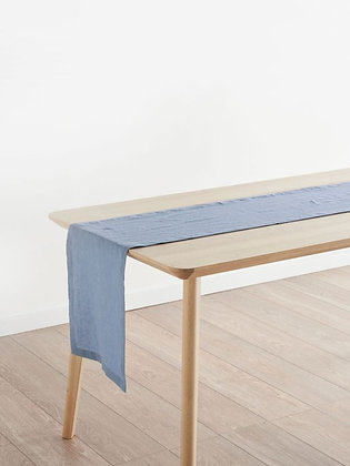 Nimes Nightfall Blue Linen Table Runner