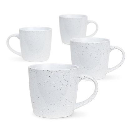 4pk Granite Mug - White Granite