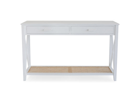 Rattan 2 Drawer Console Table in White - 148554