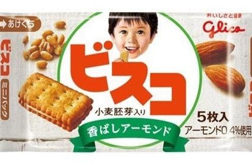 F13931 Glico 固力果 Bisco 兒童小麥芽杏仁味夾心餅 5 枚入 20pcs