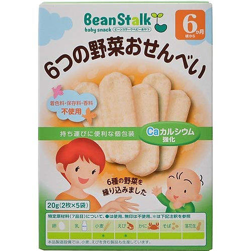 F12853 Bean Stark 6 種野菜嬰兒磨牙餅 (適合 6 個月以上小孩) 20g 2pcs