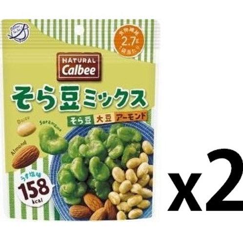 F13029_2 Calbee 卡樂B 鹽焗蠶豆大豆杏仁 27g (2包裝)