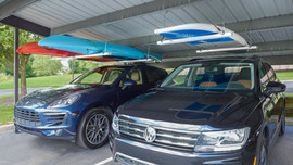 Roo Rack - Double (left) and Roo Rack - Single (right) in carport