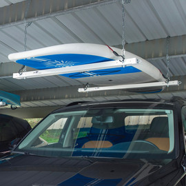 White Roo Rack - Single in carport holding SUP